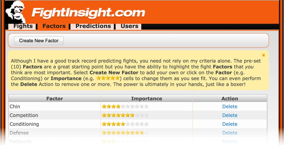 Fight Predictor factors screenshot