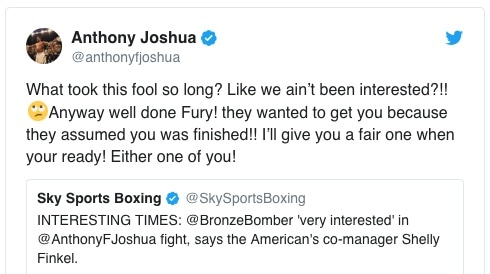 Anthony Joshua breaks silence on Deontay Wilder, Tyson Fury
