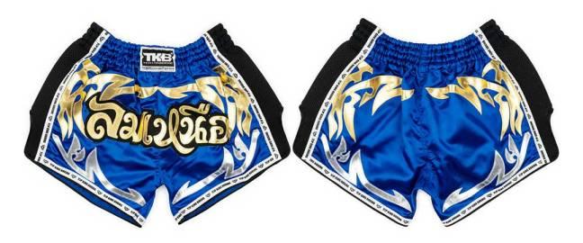 Top King Retro Muay Thai Shorts Blue & Black