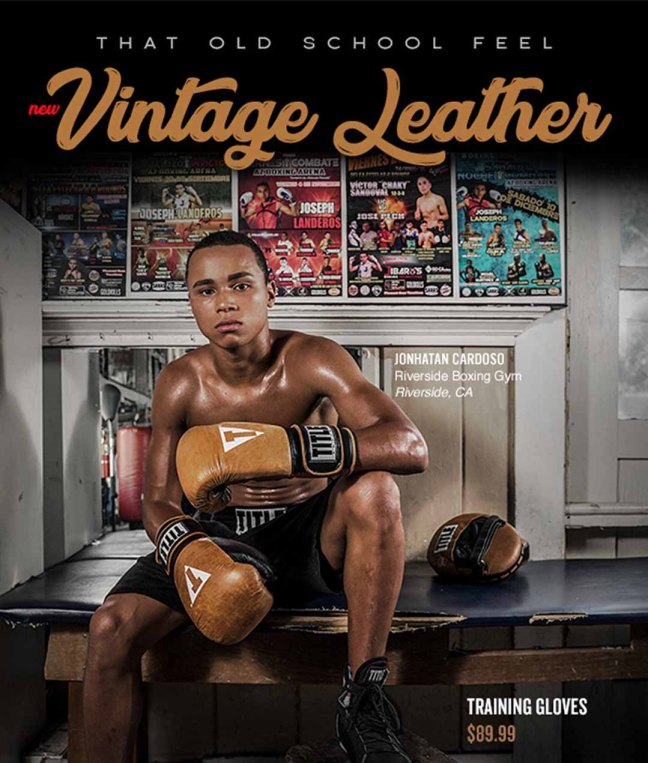 Title Vintage Leather Training Boxing Gloves