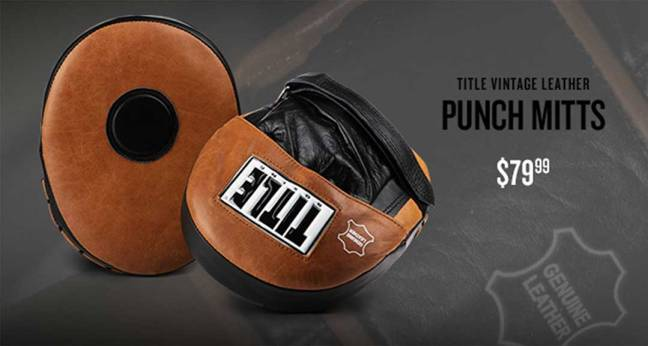 Title Vintage Leather Punch Mitts