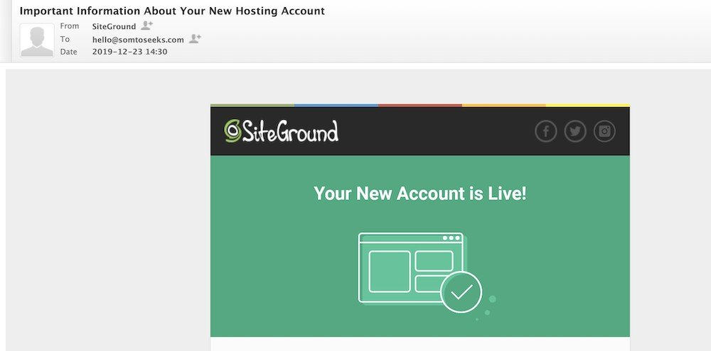Siteground information about hosting account