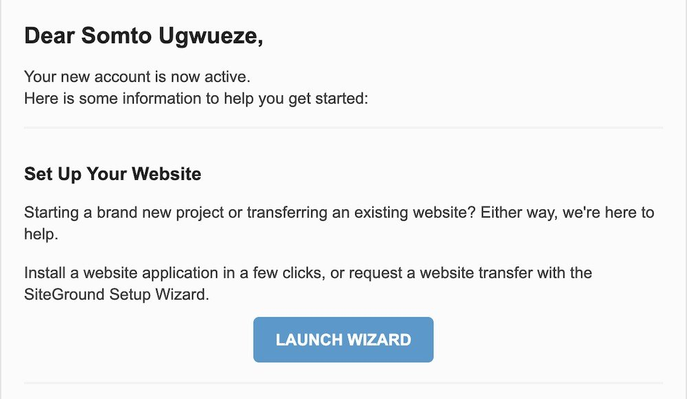 Siteground launch wizard
