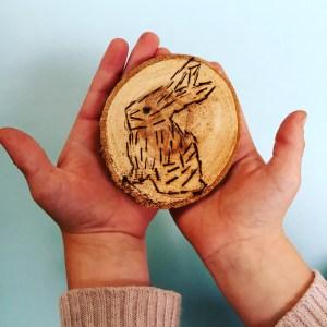 Wee Warhols, Austin TX, Art class, wood cookies, heating tool, branding