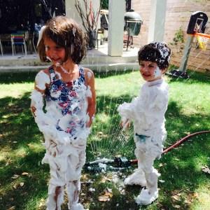 Wee Warhols, shaving cream splash, water day, summer camp, Austin TX