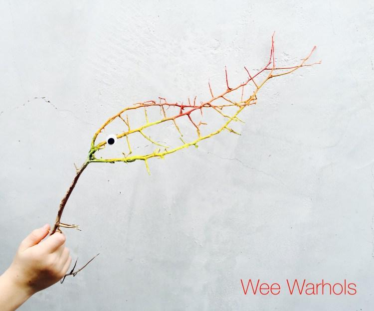 stick art, painted fish, Wee Warhols, Artclass , Austin, TX