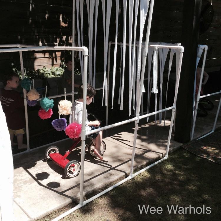 PVC bike wash, DIY PVC car wash, PVC pipe, building, construction, engineering, early childhood education, Wee Warhols, Austin