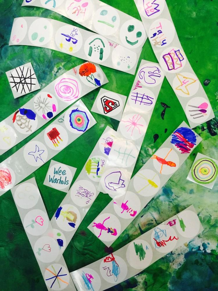 diy stickers, homemade stickers, sticker art, Wee Warhols, Austin