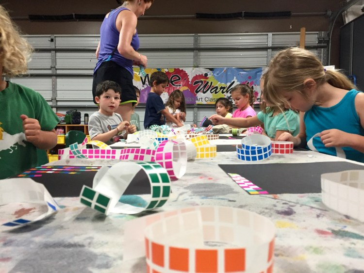 mosaic art, mosaica, early learning, kids art, Wee Warhols, austin, art classes, labels, stickers, art