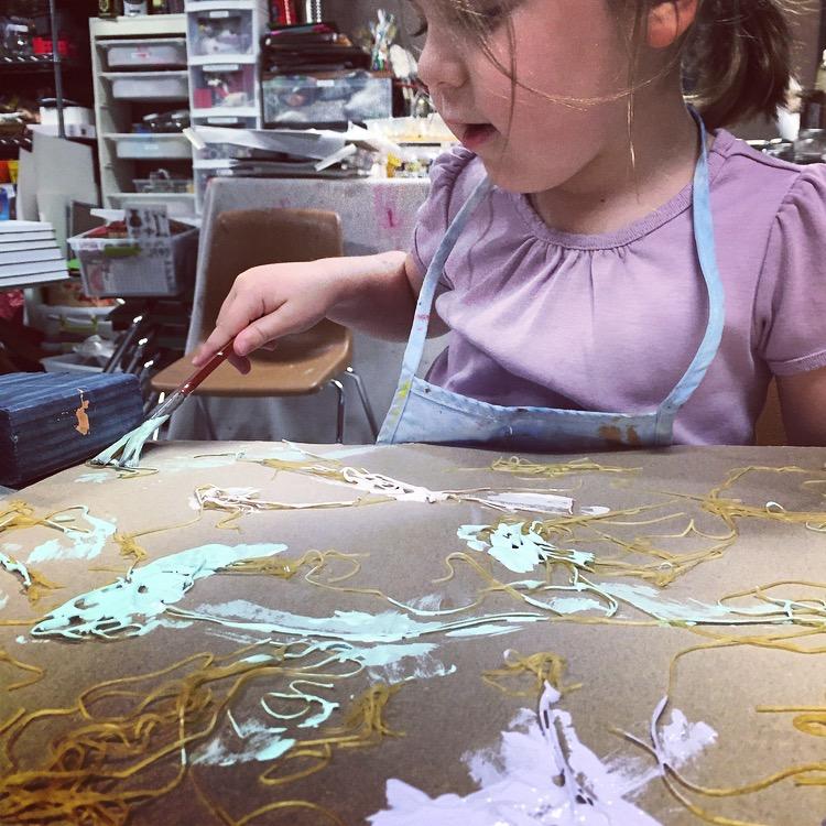Pasta, textured, art, Wee Warhols, Process art, Austin