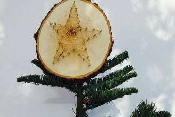 star string art tree topper, holiday, Christmas, DIY, Wee Warhols, Austin