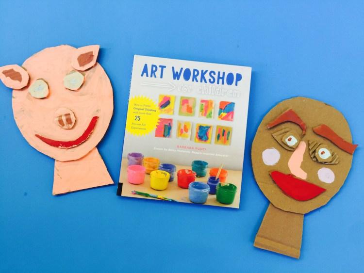 Art Workshop for children, Barbara Rucci, Betsy McKenna, process art book, kids art, Reggio inspired, Wee Warhols, Austin, book review, cardboard collage faces