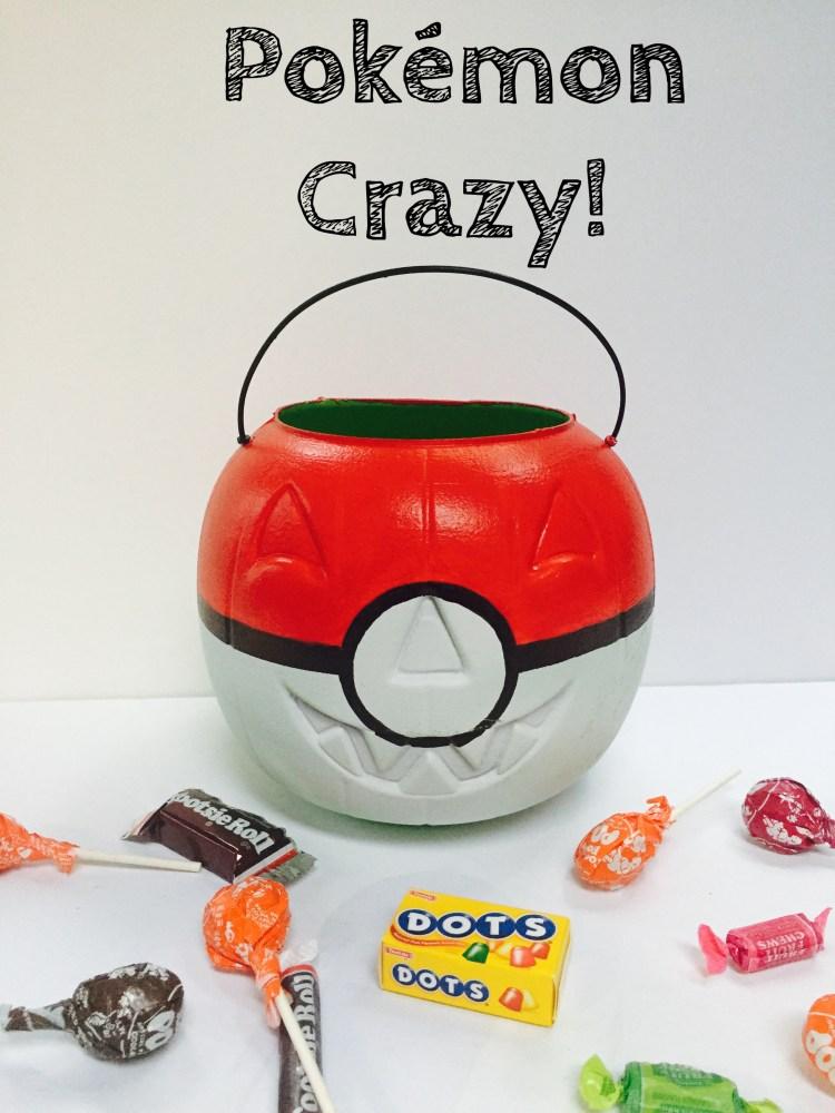 Pokemon crazy, halloween, trick or treat bags, pokemon ball, fishing bobber, Wee Warhols, Austin, DIY, Pokemon craft, jackolantern, pumpkin, candy satchel