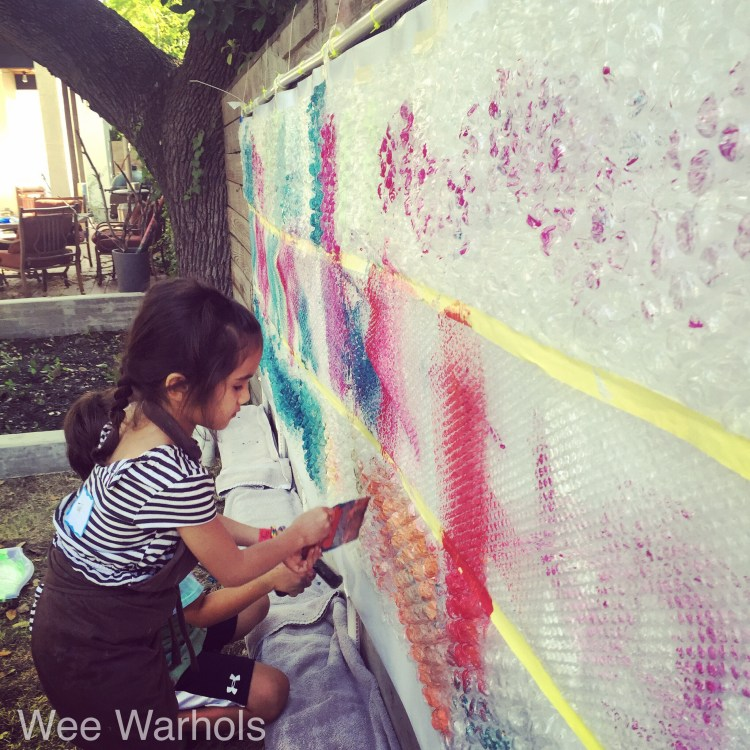 Wee Warhols, Austin, texas, bubble wrap, print making, process art, art class
