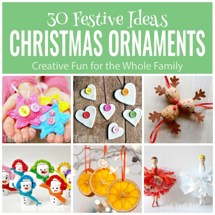 30 festive Ideas Christmas Ornaments, holiday crafts, christmas crafts, Wee Warhols, Red Ted Art, keepsakes