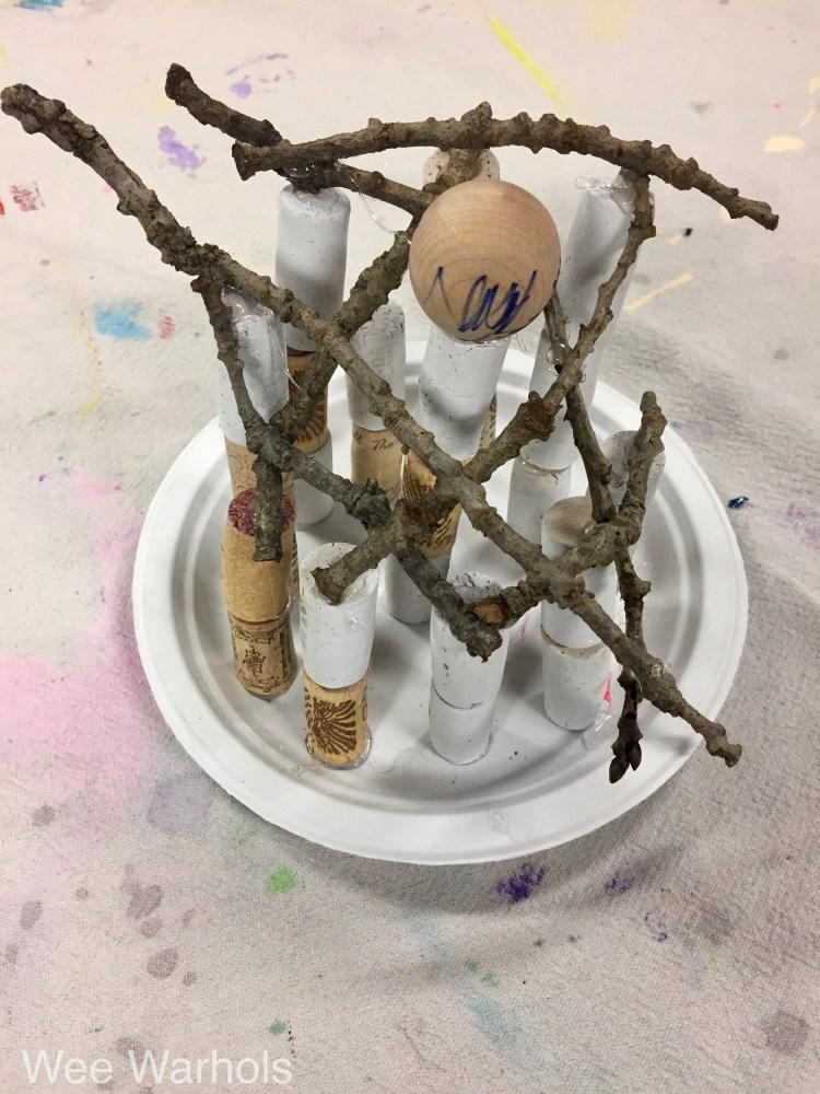 Cork Sculpture, process art, kids activities, Wee Warhols, Austin TX,