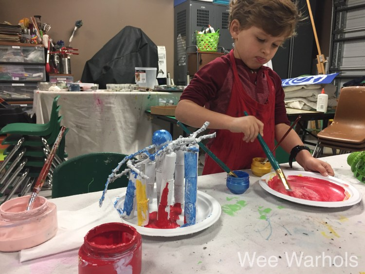 process art, wine cork craft, sculpture for kids, Wee Warhols, art class, Austin, TX