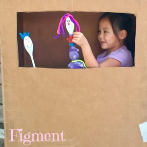 spoon puppets, creative play, child led art, Figment Creative Labs, Austin Texas, puppet show, cardboard box, kid's crafts, Horizon, Craft project
