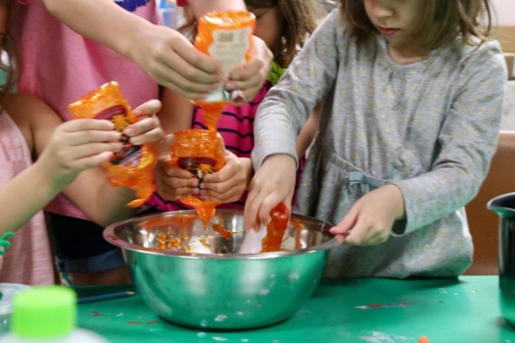 Pumpkin slime, slime, figment Creative Labs, Austin Texas, Holiday slime, STEAM, STEM Science