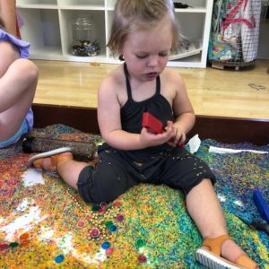 Figment Creative Labs, Austin Texas, toddler art play group, sensory play, rainbow rice