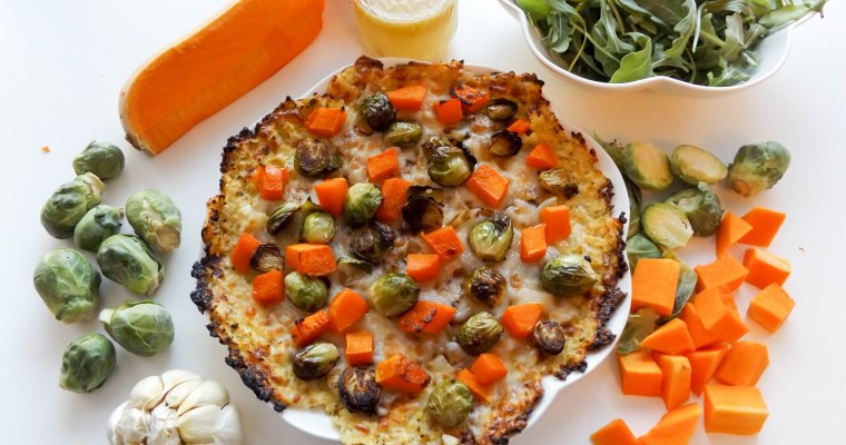 Cauliflower Crust Pizza with Butternut Squash & Brussels Sprouts