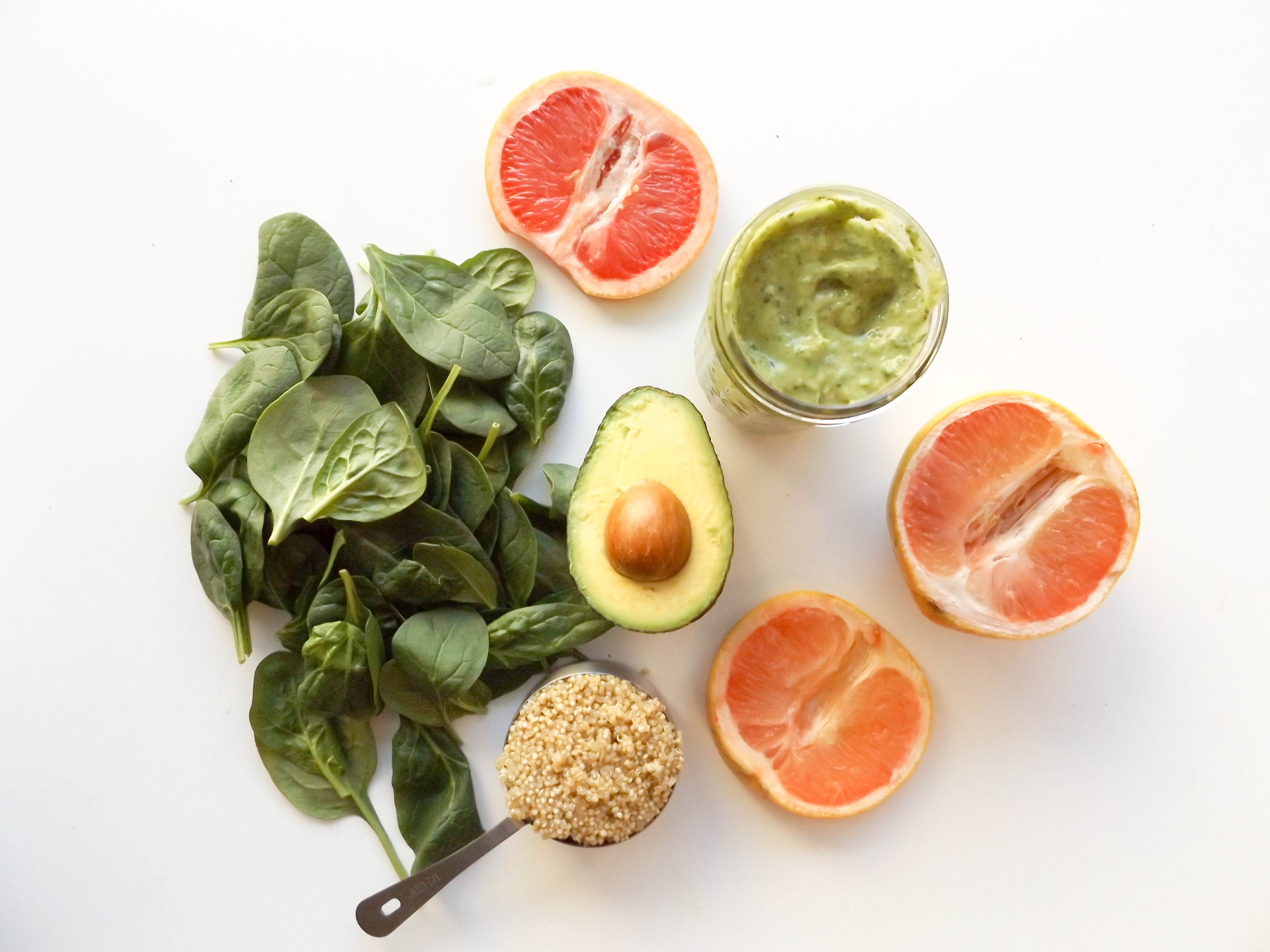 Grapefruit, Avocado, Quinoa, and Spinach Salad with Avocado Green Goddess Dressing