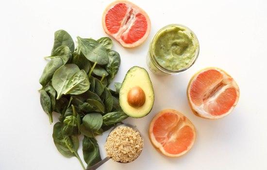 Grapefruit, Avocado, Quinoa, and Spinach Salad with Avocado Green Goddess Dressing