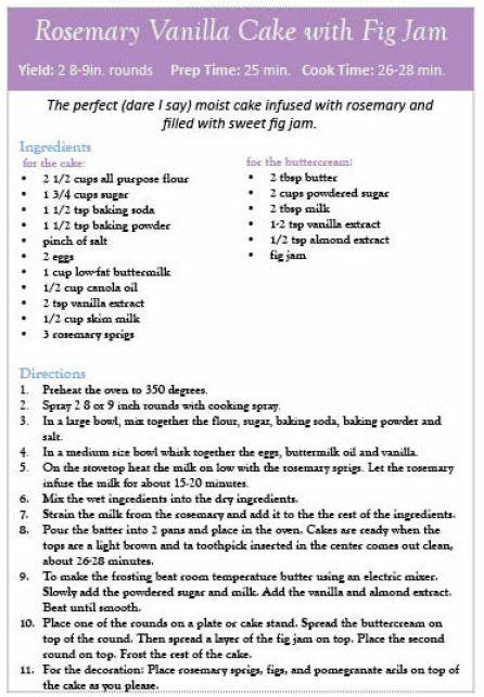 rosemary vanilla cake with fig jam