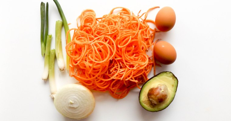 Spiralized Sweet Potato Hash with Eggs