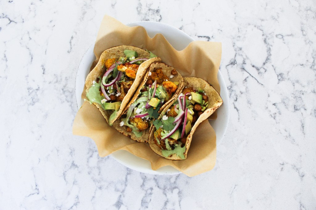Roasted Cauliflower Chickpea Tacos