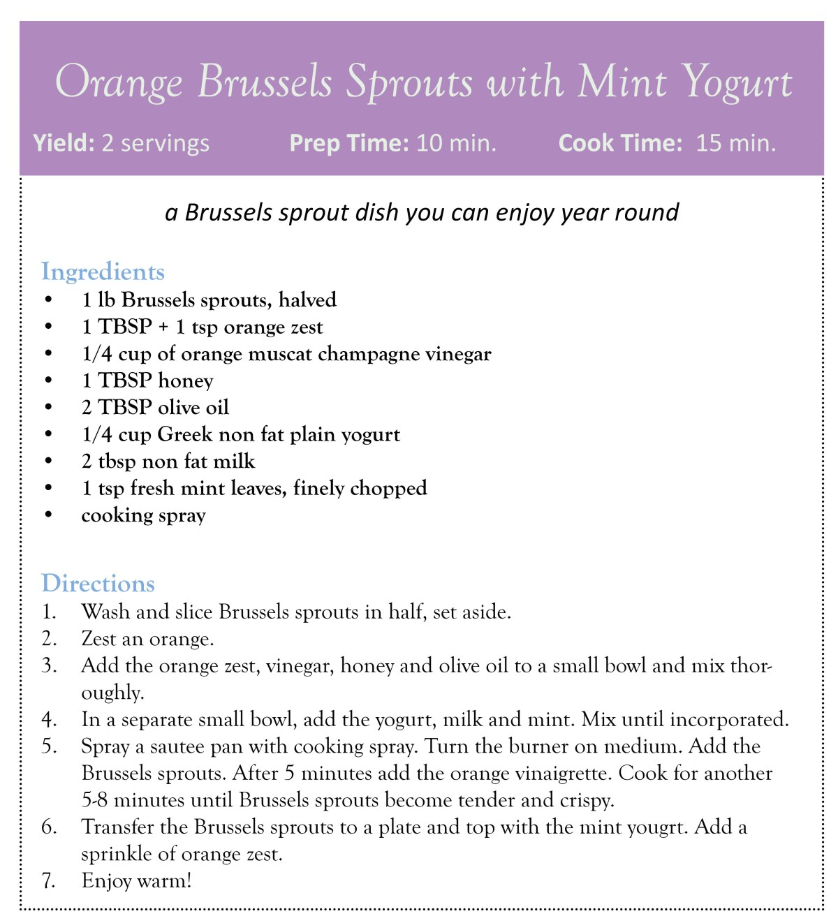 orange brussels sprouts with mint