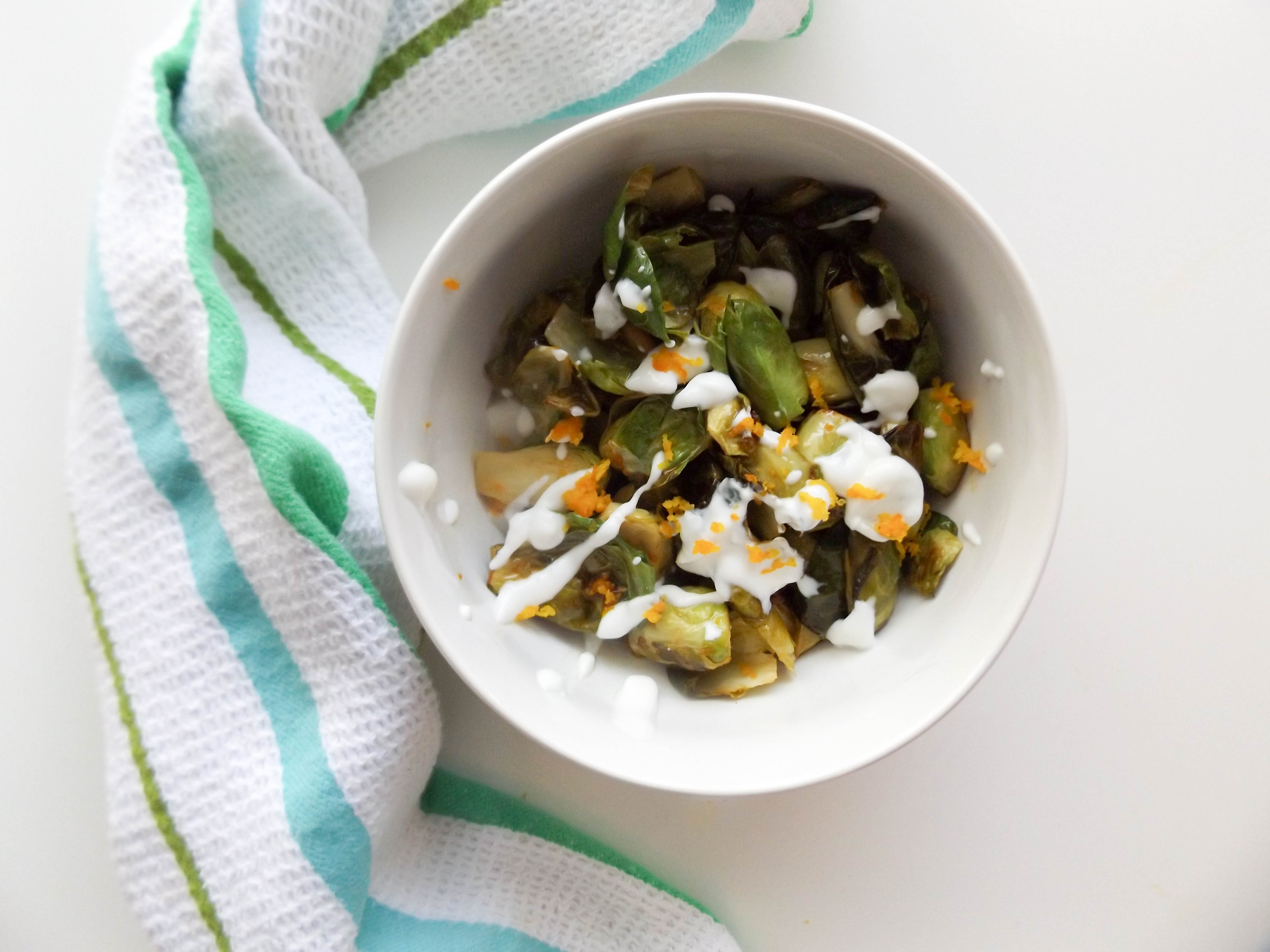 Orange Brussels Sprouts with Mint Yogurt
