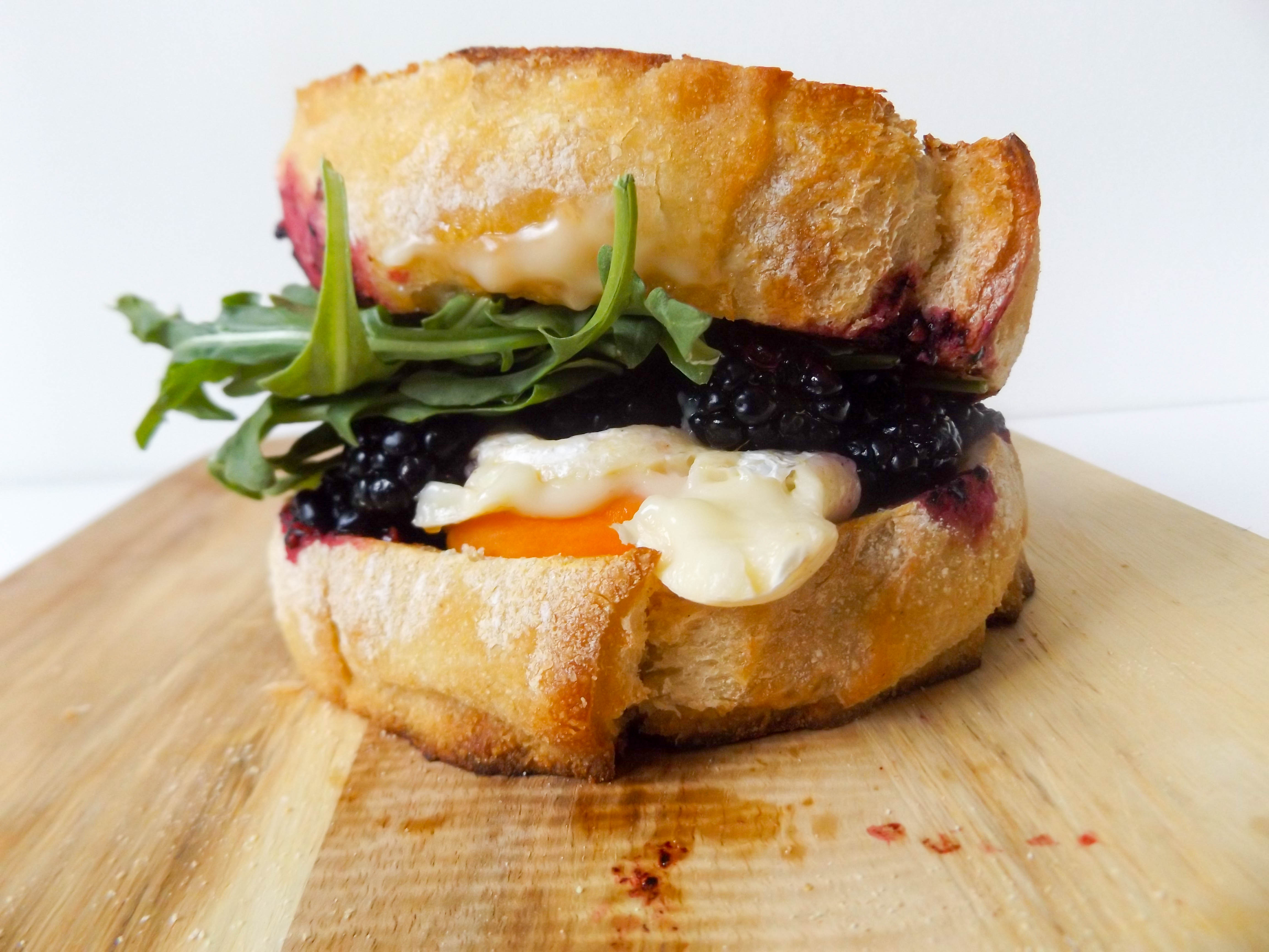 Apricot Blackberry Brie Grilled Cheese