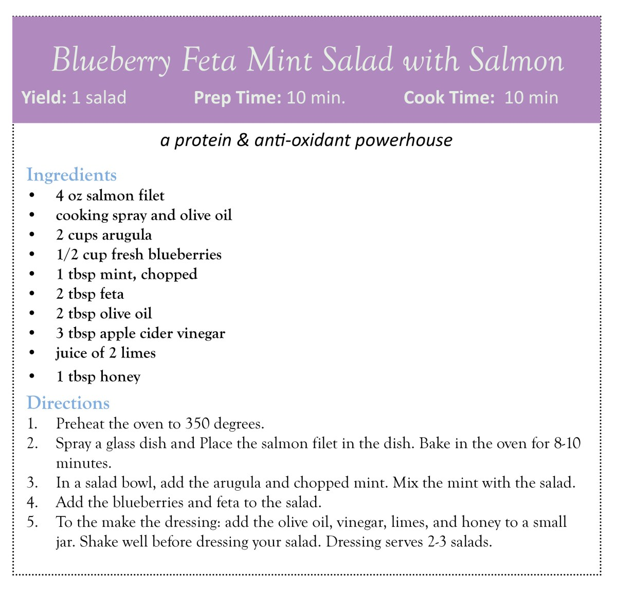 Blueberry Feta Mint Salad with Salmon