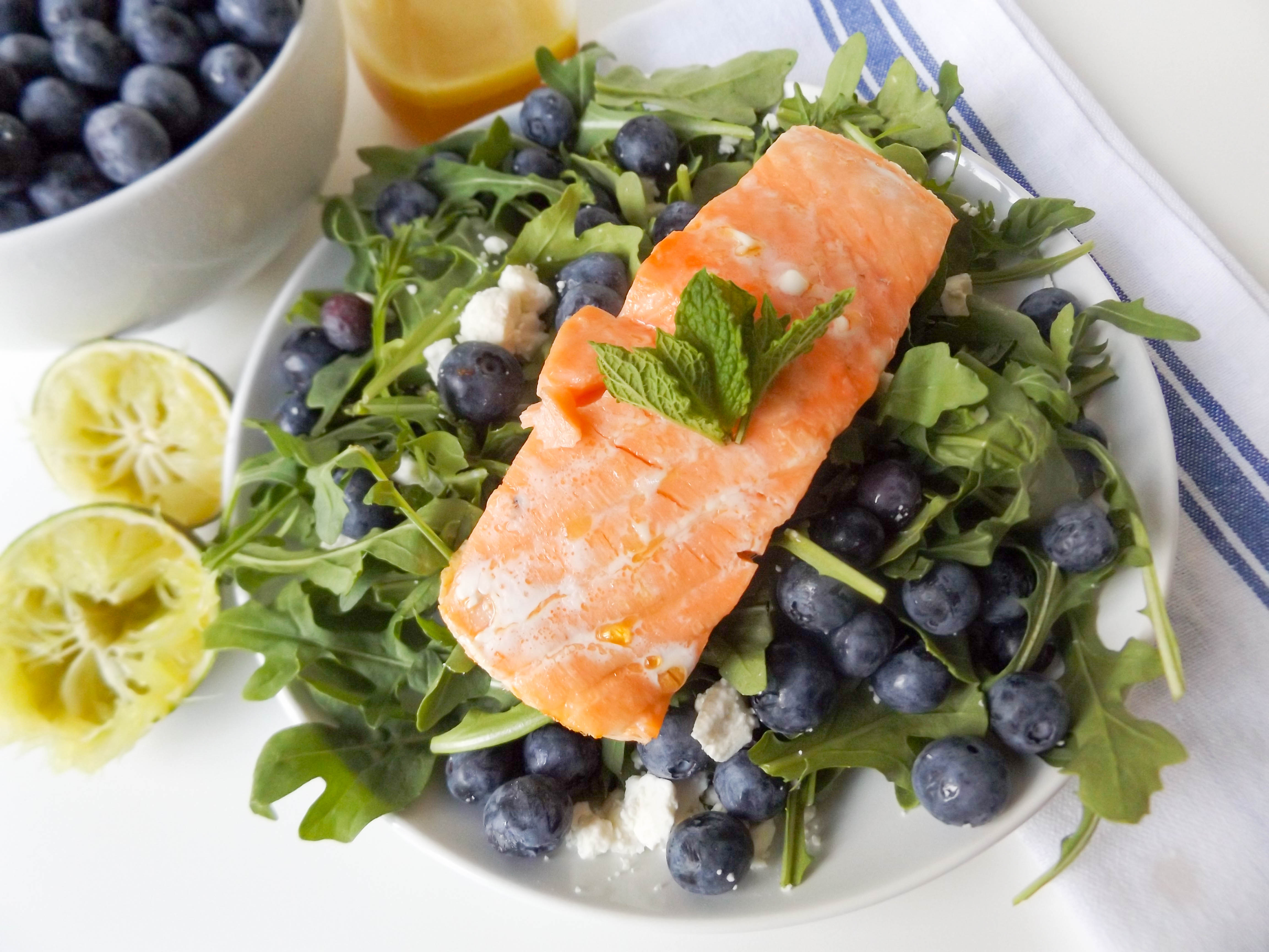 Blueberry, Feta & Mint Salad with Salmon
