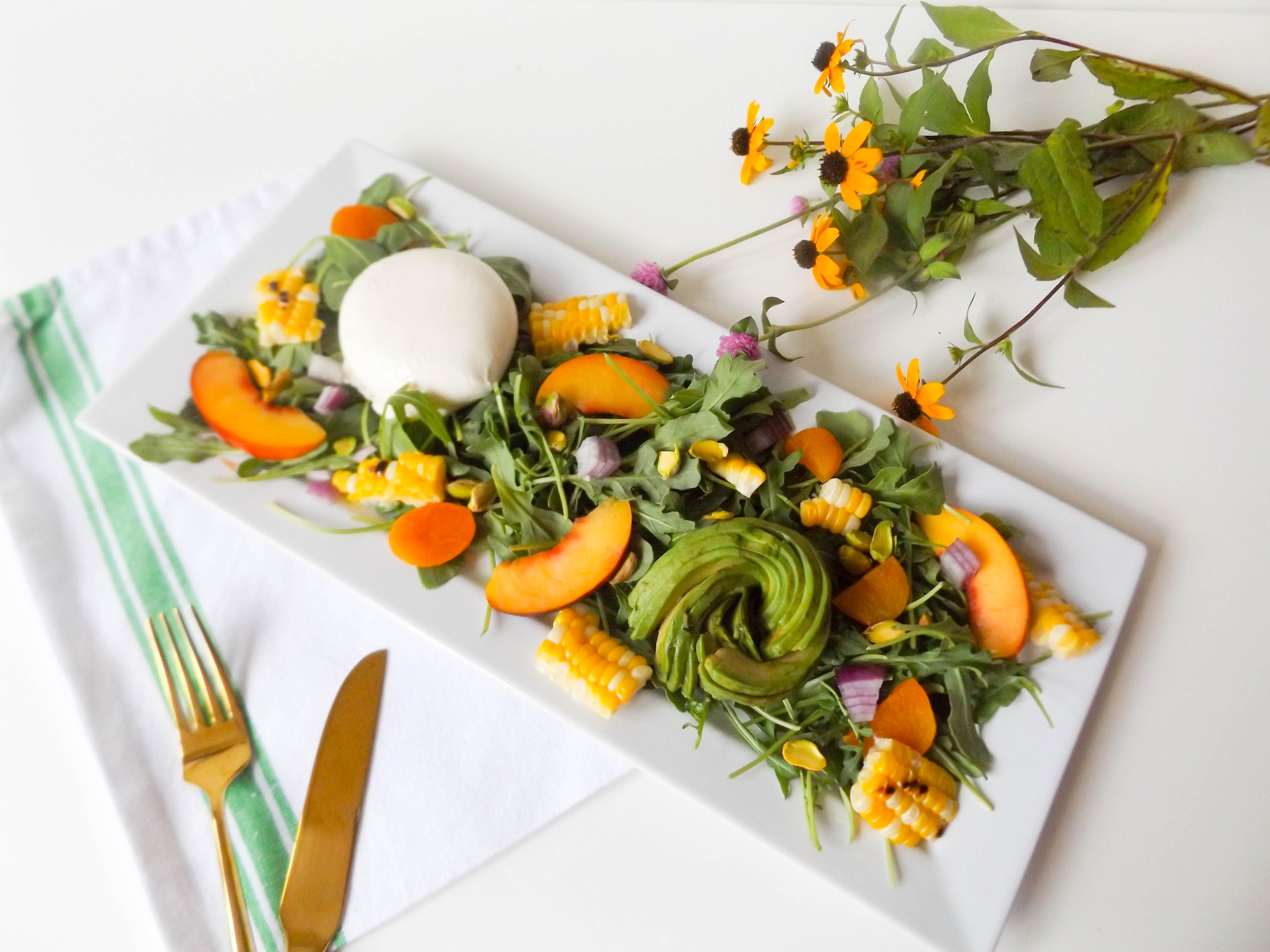 Apricot, Grilled Corn & Burrata Salad