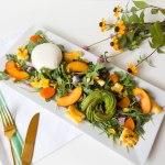 Apricot, Grilled Corn, Pistachio, & Burrata Salad