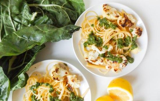 Swiss Chard Gremolata with Roasted Cauliflower & Quinoa Spaghetti