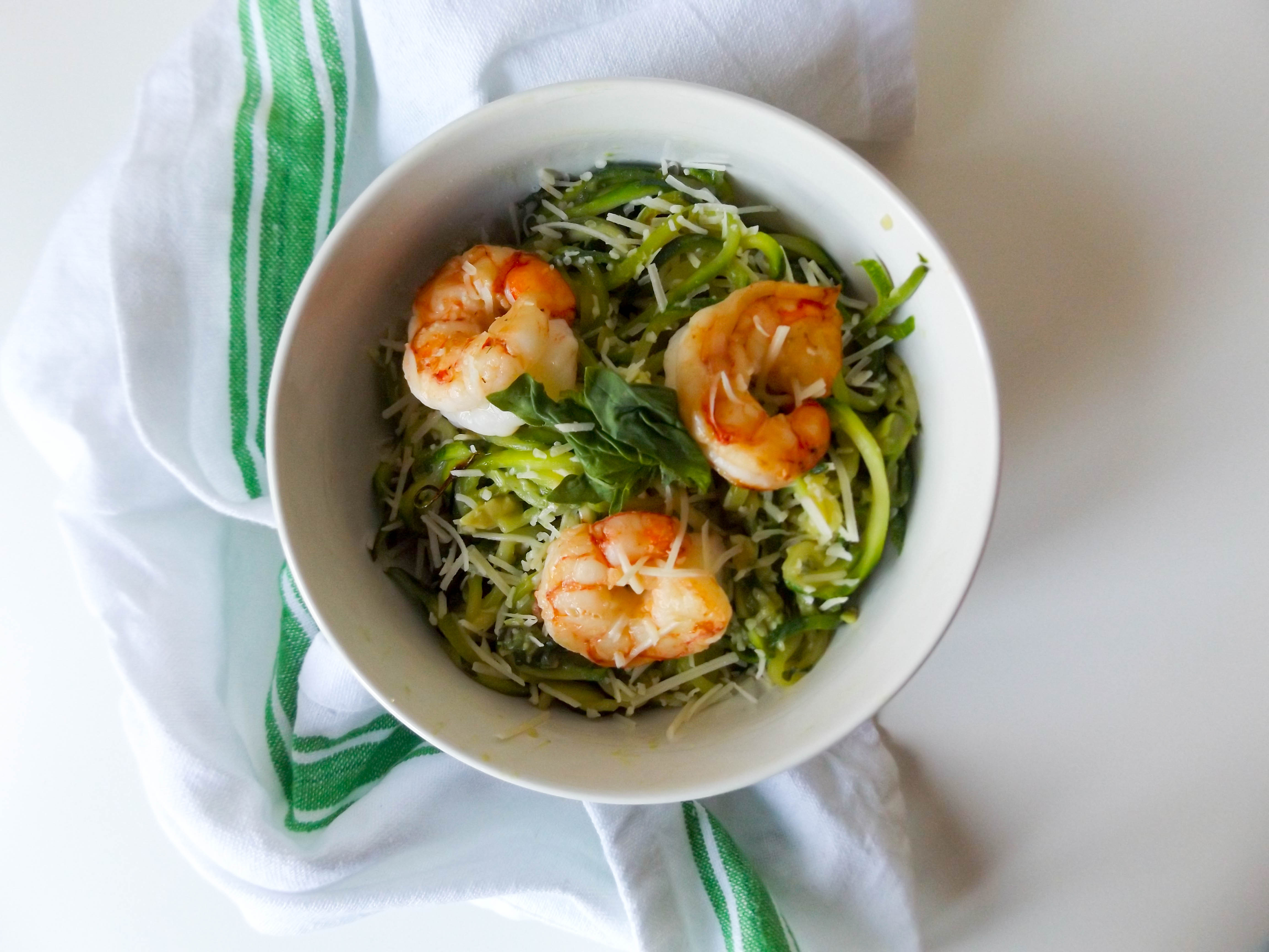 Avocado Basil Zoodles & Shrimp