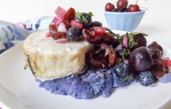 Cherry Blueberry Salsa & Swordfish