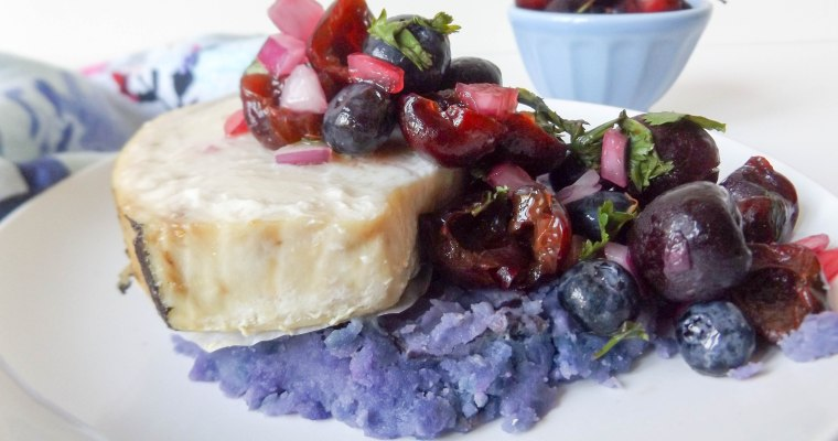 Cherry Blueberry Salsa & Swordfish