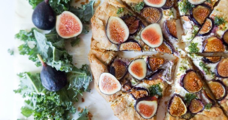 Fig & Burrata Galette with Kale Walnut Pesto
