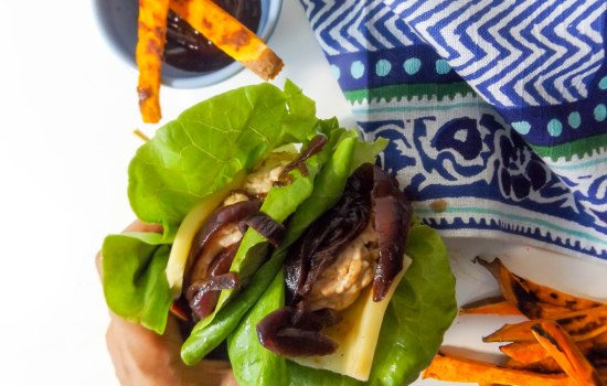 Turkey Apple Cheddar Burgers with Onion Jam