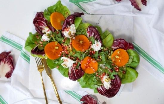 Persimmon Pomegranate & Burrata Salad