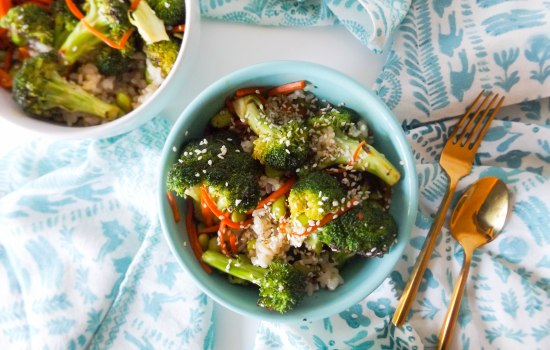 Asian-Style Broccoli with Brown Rice