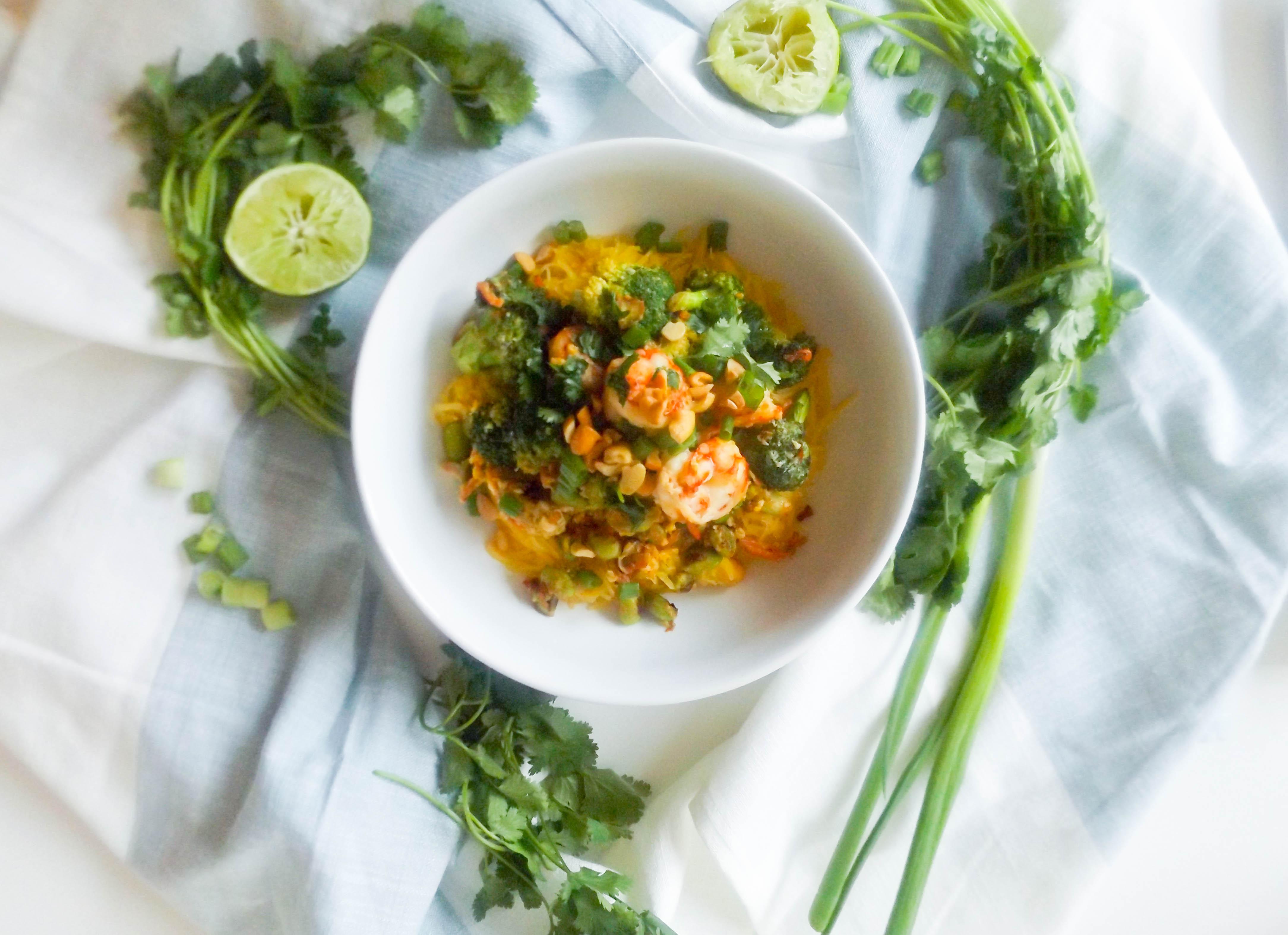 Spaghetti Squash Shrimp Pad Thai