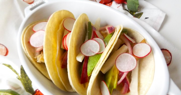 Fish Tacos with Jicama Radish Slaw