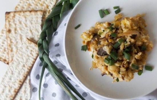 Matzah Brei with Spring Onions & Feta