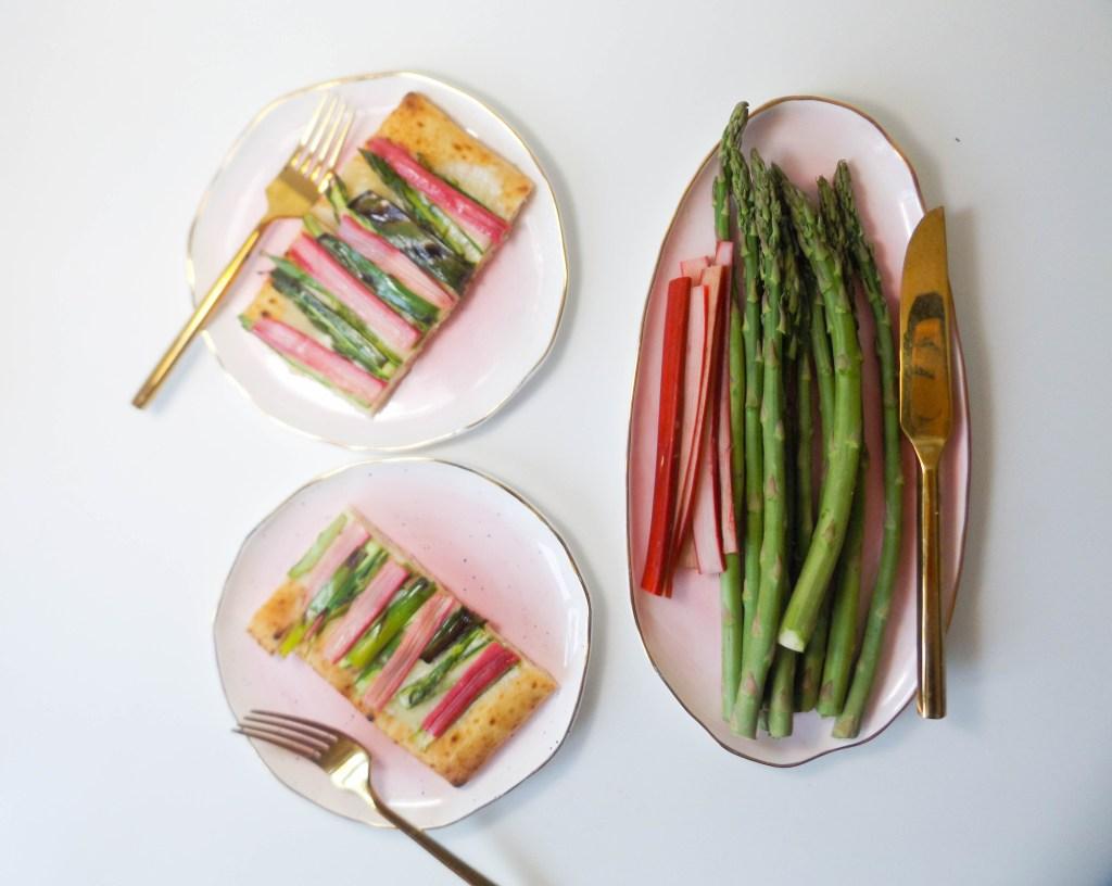 Rhubarb and Asparagus Flatbread Pizza
