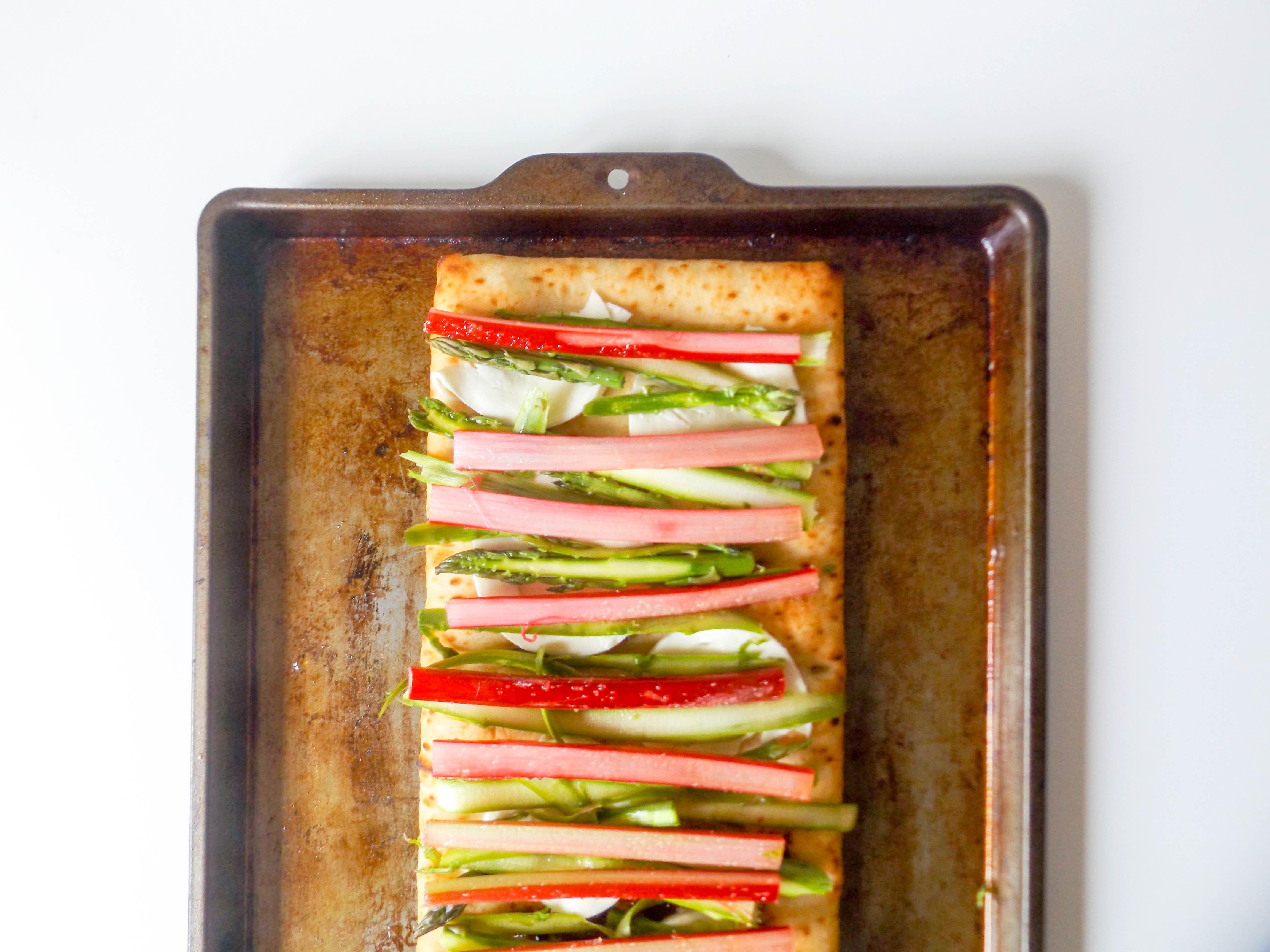 Rhubarb & Asparagus Flatbread Pizza
